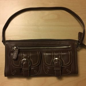 Nordstrom Genuine Leather Baguette Handbag Purse